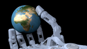 Robot hand holding globe, 3D image
