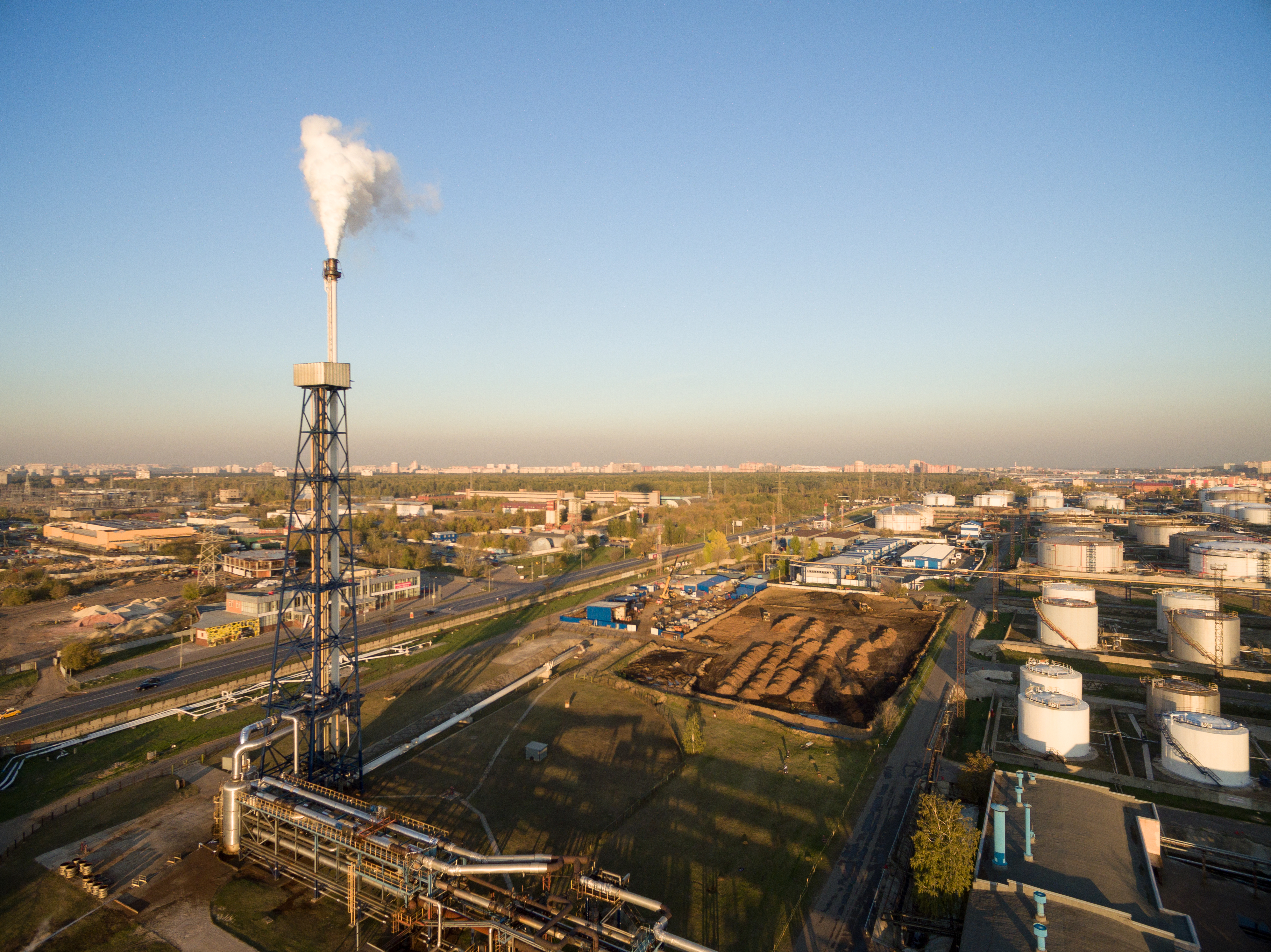 View of large oil refinery - petrochemical plant